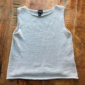 Eileen Fisher Knit Cotton Tank with Raw Edges